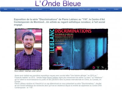 "Article sur la série ""Discriminations"" du photographe Pierre Leblanc en France dans ""L'Onde Bleue""."