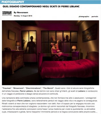"Publication de la série ""Showroom"" du photographe Pierre Leblanc en Italie dans UrbanContest Magazine."